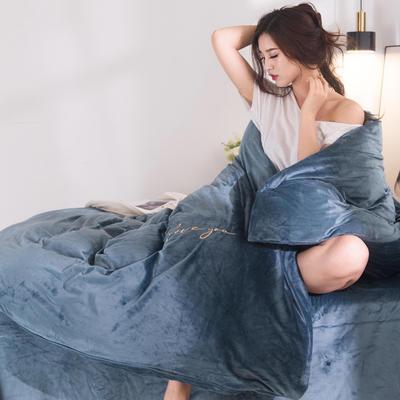 2019年新款刺绣水晶绒四件套 1.2m床单款三件套 典雅蓝