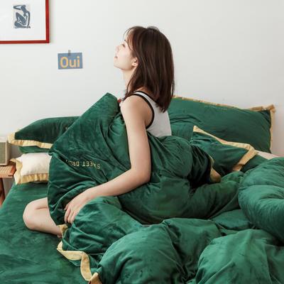 2019新款水晶绒四件套-时尚款 1.2m床单款三件套 时尚绿