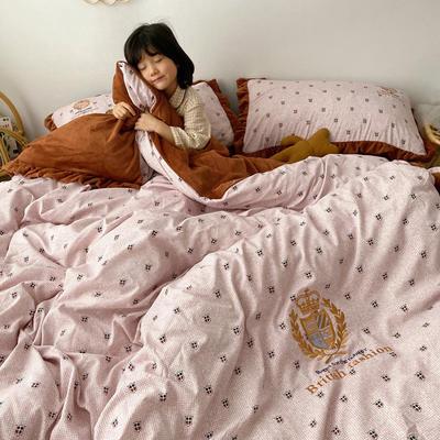 2019新款宝宝绒四件套 1.5m(5英尺)床单款 粉色