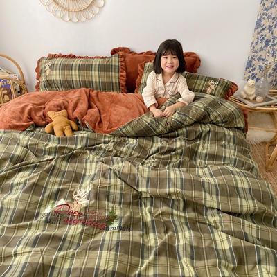 2019新款宝宝绒四件套 1.8m(6英尺)床单款 棕绿色