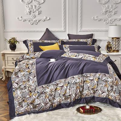 2019新款100s双股埃及长绒棉拼接四件套 2.0m床单款四件套 丛林密语-紫