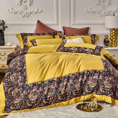 2019新款100s双股埃及长绒棉拼接四件套 1.5m床单款四件套 热带雨林-黄