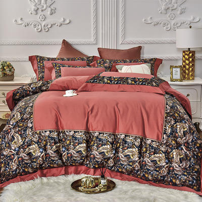 2019新款100s双股埃及长绒棉拼接四件套 1.5m床单款四件套 热带雨林-桔红