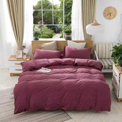 2019新款针织棉天竺棉四件套 1.2m床床单款 2-酒红细条
