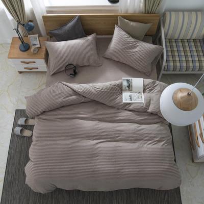 2019新款针织棉天竺棉四件套 1.2m床床笠款 15-咖白细条