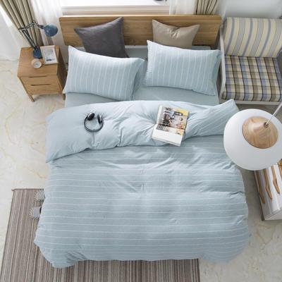 2019新款针织棉天竺棉四件套 1.2m床床单款 22-水蓝宽条