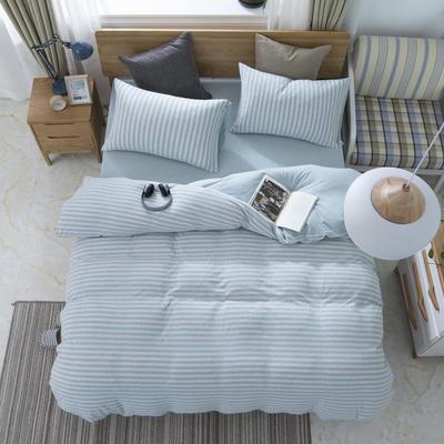 2019新款针织棉天竺棉四件套 1.2m床床单款 23-水蓝中条