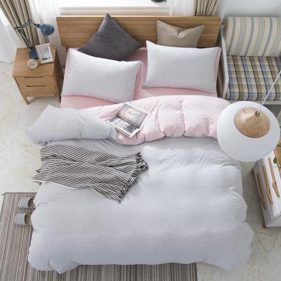 2019新款针织棉天竺棉四件套 1.2m床床笠款 24-粉灰细条
