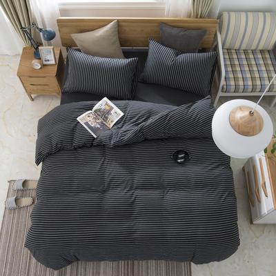 2019新款针织棉天竺棉四件套 1.2m床床笠款 27-黑白细条
