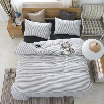 2019新款针织棉天竺棉四件套 1.2m床床笠款 28-雅白细条