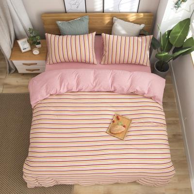 2019新款针织棉天竺棉四件套 1.2m床床单款 30-彩虹宽条