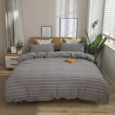 2019新款针织棉天竺棉四件套 1.2m床床单款 31-灰粉宽条