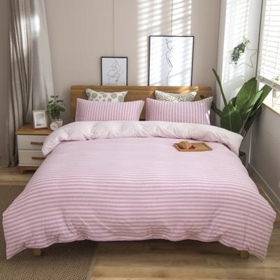 2019新款针织棉天竺棉四件套 1.2m床床笠款 32-浅粉中条