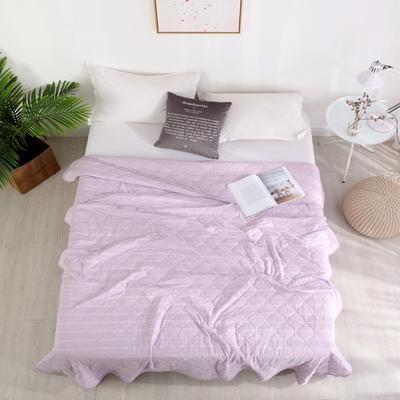 2019新款针织夏被 150x200cm 淡紫白条纹