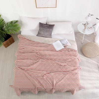 2019新款针织夏被 150x200cm 砖红白条纹