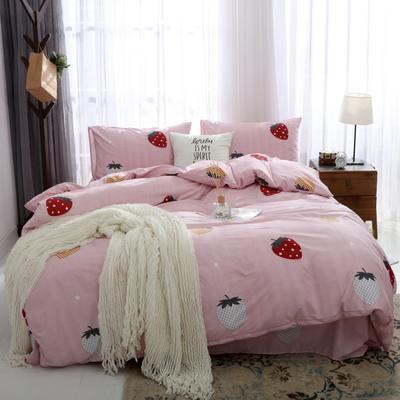 2019新款水洗棉印花四件套 1.2m床单款 粉色草莓