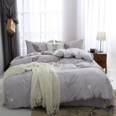 2019新款水洗棉印花四件套 1.2m床单款 灰色树叶