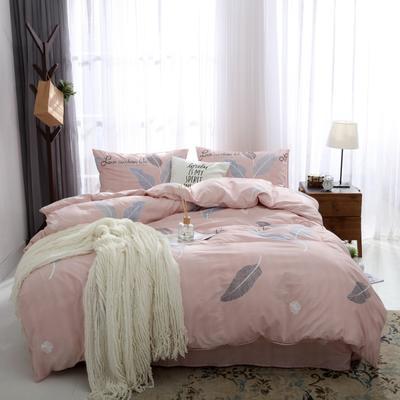 2019新款水洗棉印花四件套 1.2m床单款 粉色树叶