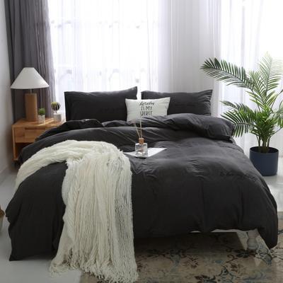 2019新款针织套件刺绣款四件套 1.2m床单款 碳灰刺绣