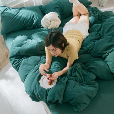 2019新款羊丽绒针织绒四件套 1.2m床单款三件套 墨绿