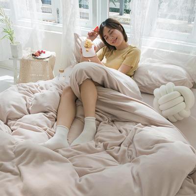 2019新款羊丽绒针织绒四件套 1.2m床单款三件套 浅米