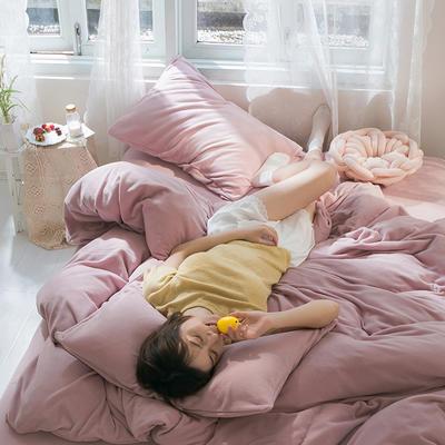 2019新款羊丽绒针织绒四件套 1.2m床单款三件套 浅紫粉