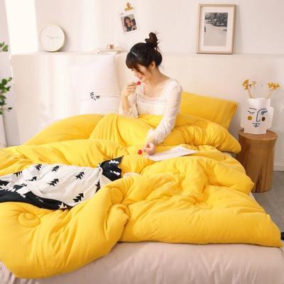 2019新款-针织棉刺绣冬被被子被芯 150x200cm 5斤 姜黄