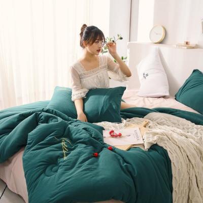 2019新款-针织棉刺绣冬被被子被芯 150x200cm 5斤 墨绿