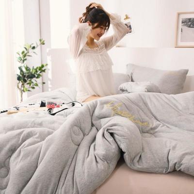 2019新款-针织棉刺绣冬被被子被芯 150x200cm 5斤 奶奶灰
