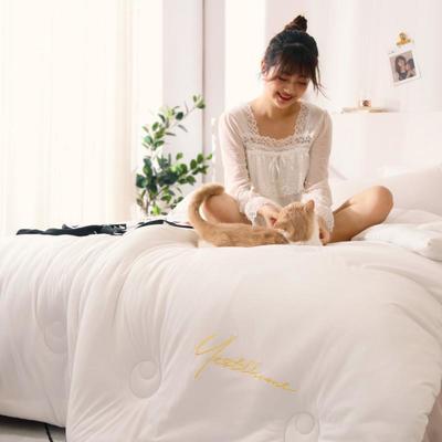 2019新款-针织棉刺绣冬被被子被芯 150x200cm 5斤 珍珠白