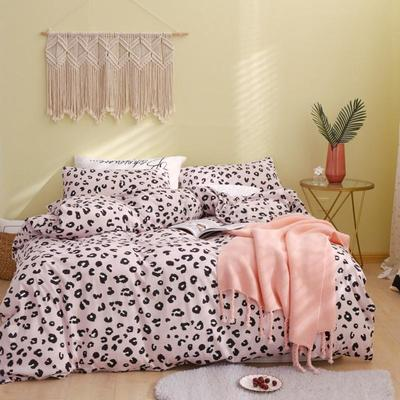 2019新款-针织棉印花四件套 1.2m床单款三件套 粉豹纹