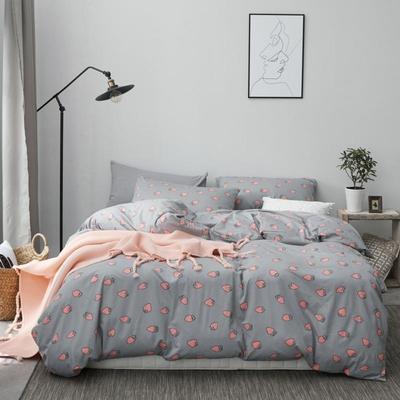 2019新款-针织棉印花四件套 单被套150*200 灰草莓
