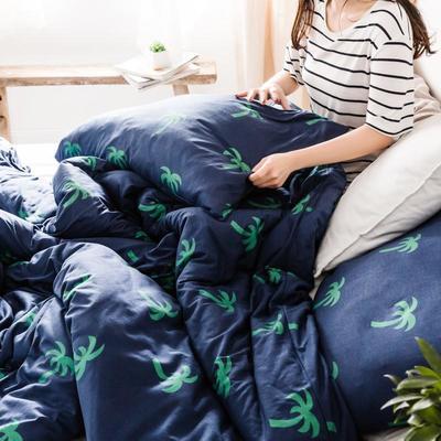 2019新款-针织棉印花四件套 单被套150*200 槿木椰树