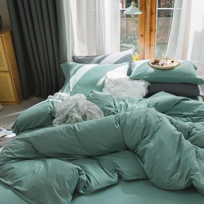 新款本棉色针织棉全棉四件套 被套150*200床单160*250床单款 (三件套) 薄荷绿