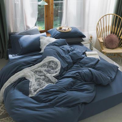 新款本棉色针织棉全棉四件套 被套150*200床单160*250床单款 (三件套) 波斯蓝