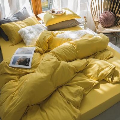 新款本棉色针织棉全棉四件套 被套150*200床单160*250床单款 (三件套) 姜黄色