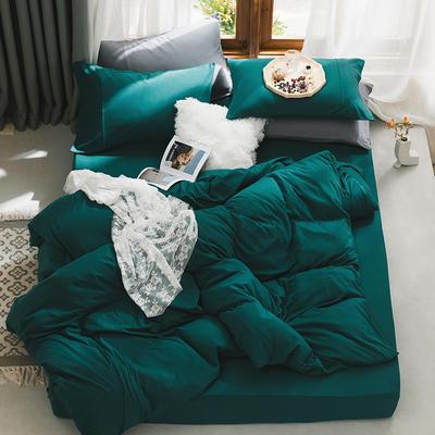 新款本棉色针织棉全棉四件套 被套150*200床单160*250床单款 (三件套) 孔雀蓝