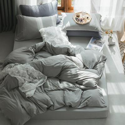 新款本棉色针织棉全棉四件套 被套150*200床单160*250床单款 (三件套) 浅米绿