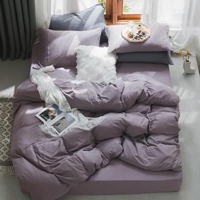 新款本棉色针织棉全棉四件套 被套150*200床单160*250床单款 (三件套) 浅紫色