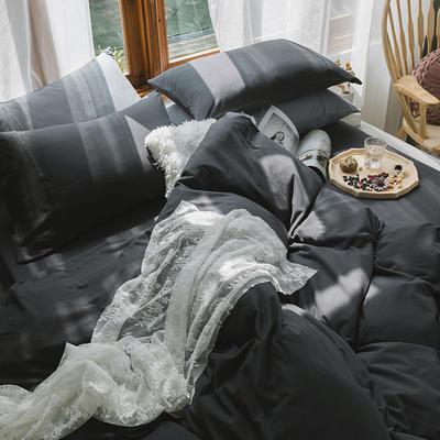 新款本棉色针织棉全棉四件套 被套150*200床单160*250床单款 (三件套) 素碳黑