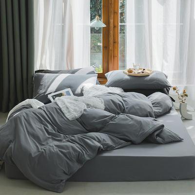新款本棉色针织棉全棉四件套 被套150*200床单160*250床单款 (三件套) 中灰色