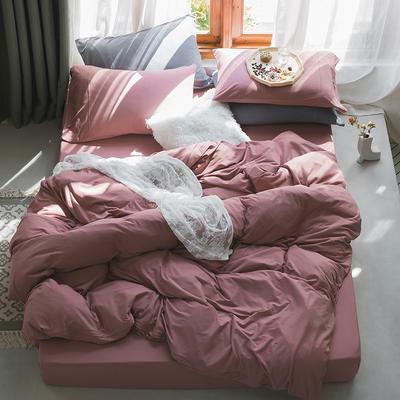 新款本棉色针织棉全棉四件套 被套150*200床单160*250床单款 (三件套) 紫粉色