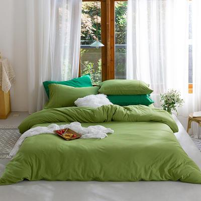 新款本棉色针织棉全棉四件套 被套150*200床单160*250床单款 (三件套) 菠菜绿
