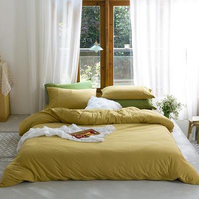 新款本棉色针织棉全棉四件套 被套150*200床单160*250床单款 (三件套) 蜂蜜色