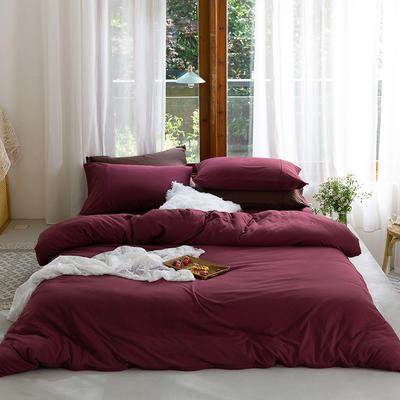 新款本棉色针织棉全棉四件套 被套150*200床单160*250床单款 (三件套) 酒红色