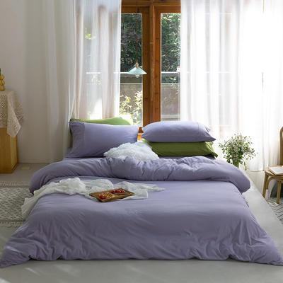 新款本棉色针织棉全棉四件套 被套150*200床单160*250床单款 (三件套) 兰花紫