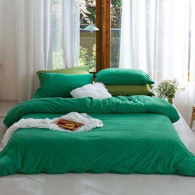 新款本棉色针织棉全棉四件套 被套150*200床单160*250床单款 (三件套) 祖母绿