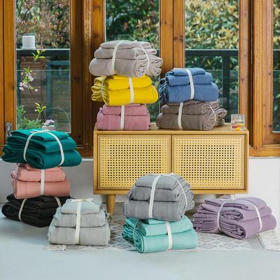 新款本棉色针织棉全棉四件套 被套150*200床单160*250床单款 (三件套) 叠拍图