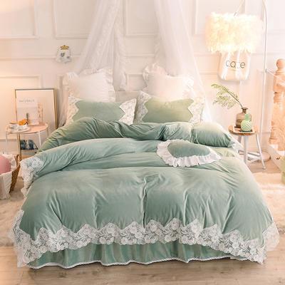 2019新款水晶绒-仙子四件套 1.2m床裙款三件套 墨绿