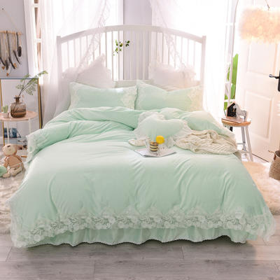 2019新款水晶绒-仙子四件套 1.2m床裙款三件套 仙子-草绿